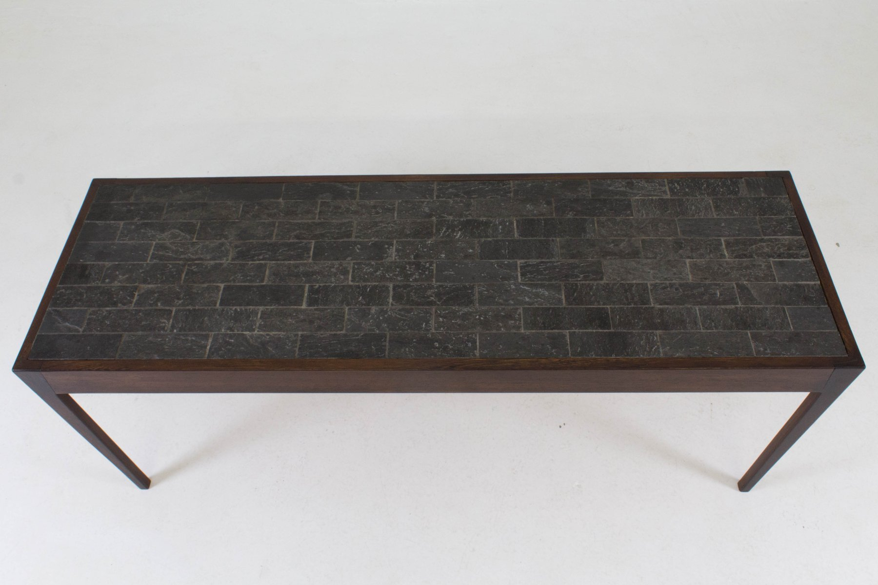 Dutch Mid Century Modern Wenge Coffee Table with Slate Top 1960s