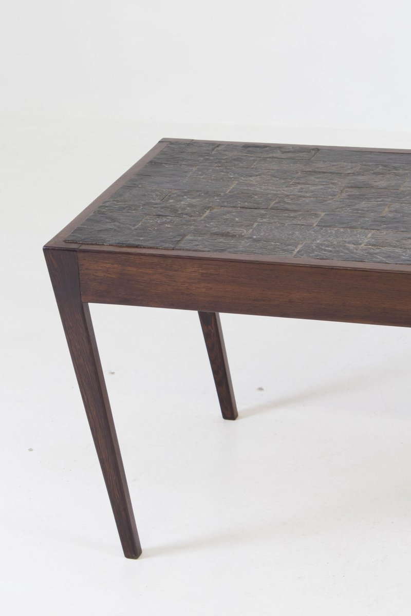 Dutch Mid Century Modern Wenge Coffee Table With Slate Top 1960s For Sale At Pamono