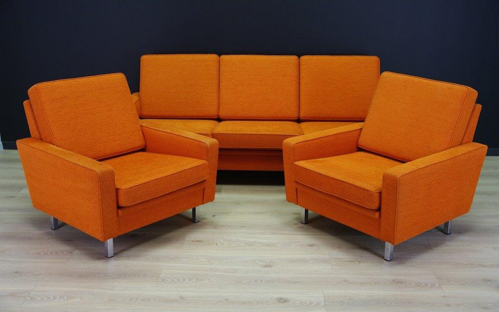 Vintage Orange Danish Living Room Set for sale at Pamono