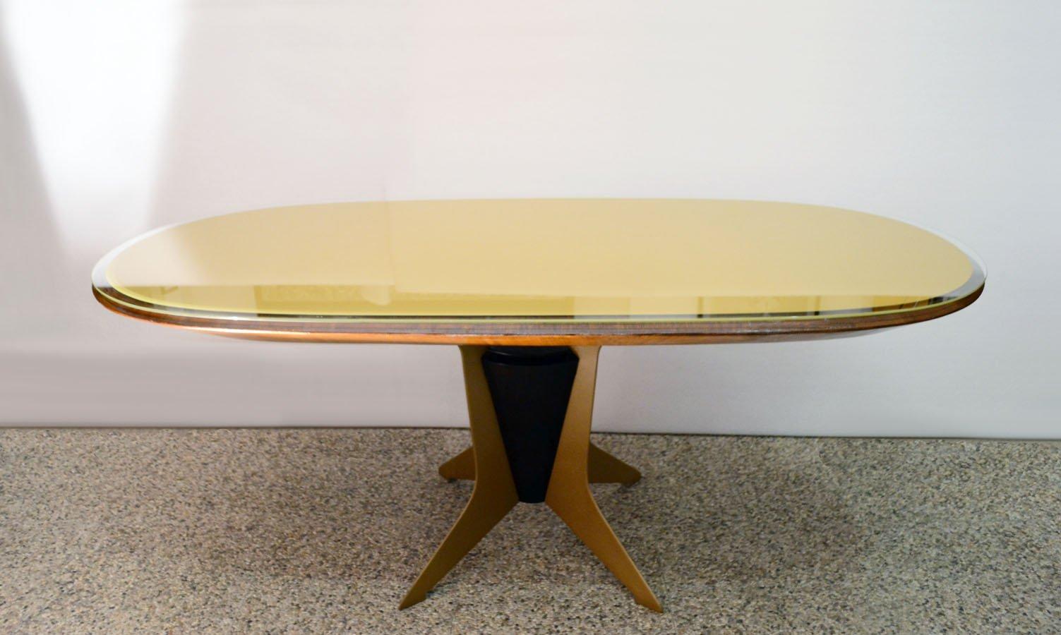 ovaler italienischer esstisch aus holz metall lackiertem glas 1950er bei pamono kaufen. Black Bedroom Furniture Sets. Home Design Ideas