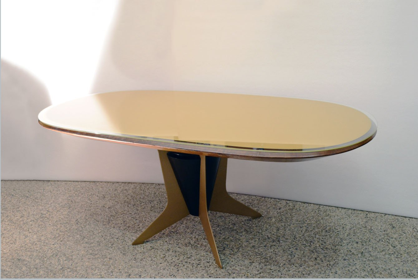 Italian Oval Dining Table in Wood Metal and Painted  : italian oval dining table in wood metal and painted glass 1950s 2 from www.pamono.co.uk size 1340 x 900 jpeg 88kB