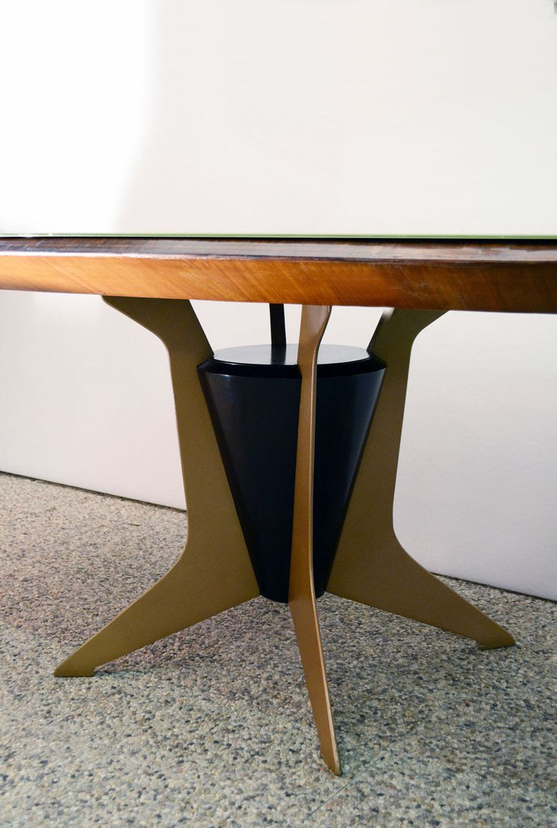 Italian Oval Dining Table in Wood, Metal, and Painted Glass, 1950s ...