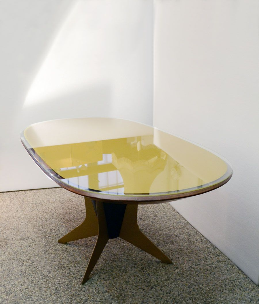 Italian Oval Dining Table In Wood Metal And Painted Glass 1950s For Sale At Pamono