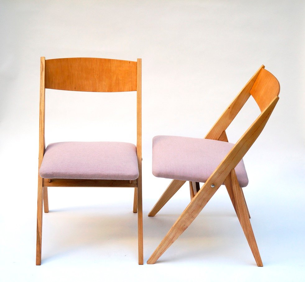 Polish ash dining chairs by czesław knothe for rzut