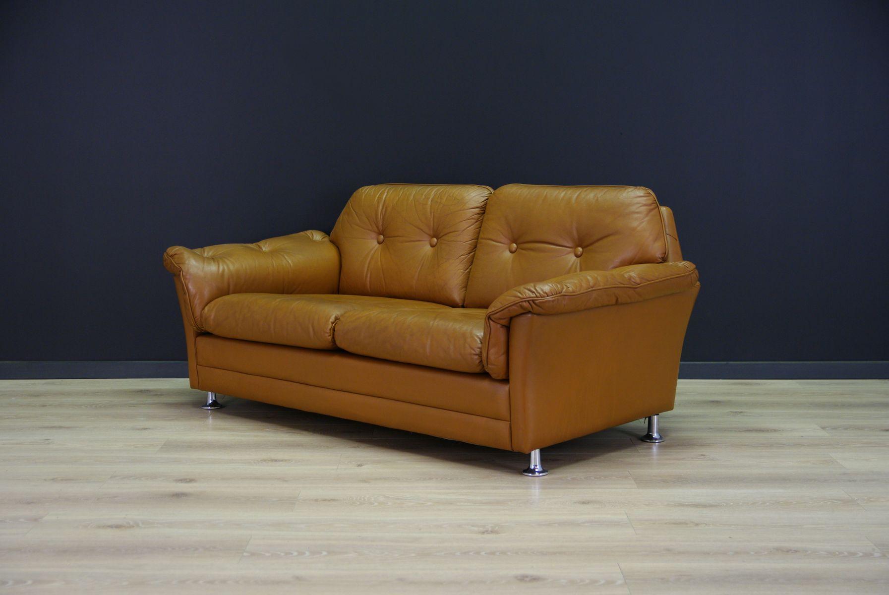 d nisches mid century ledersofa bei pamono kaufen. Black Bedroom Furniture Sets. Home Design Ideas
