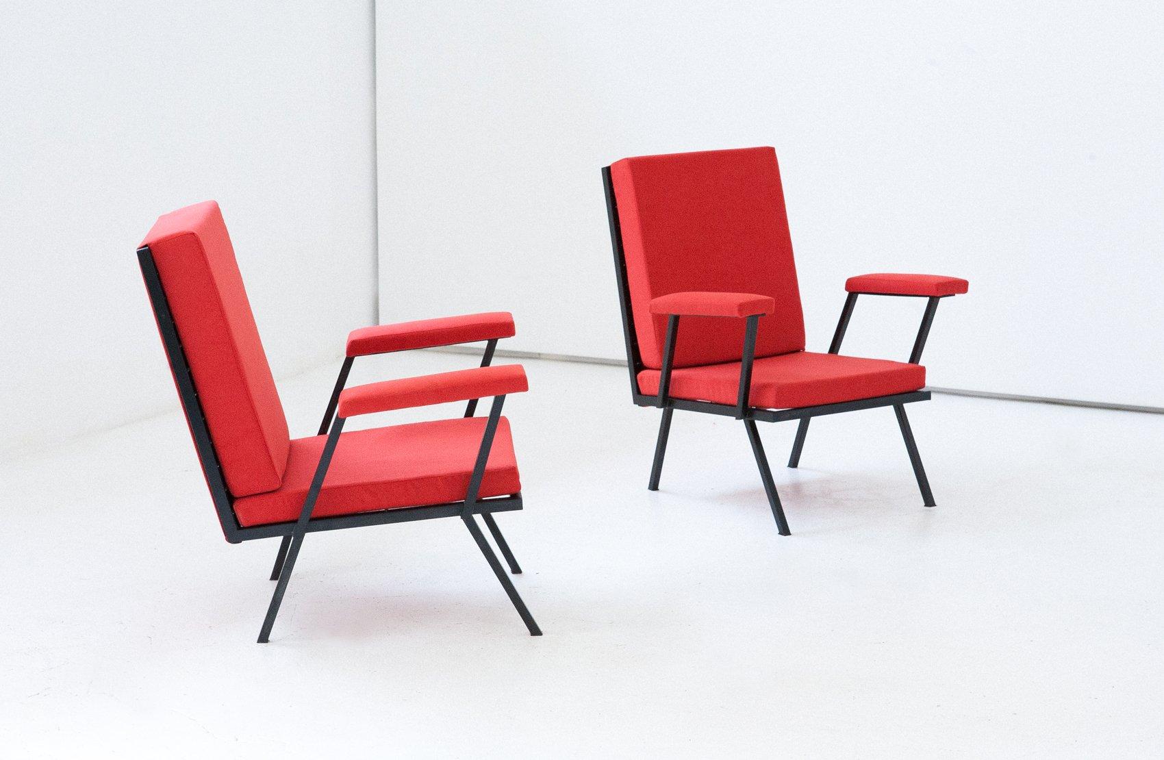 rote italienische sessel aus eisen 1950er 2er set bei pamono kaufen. Black Bedroom Furniture Sets. Home Design Ideas