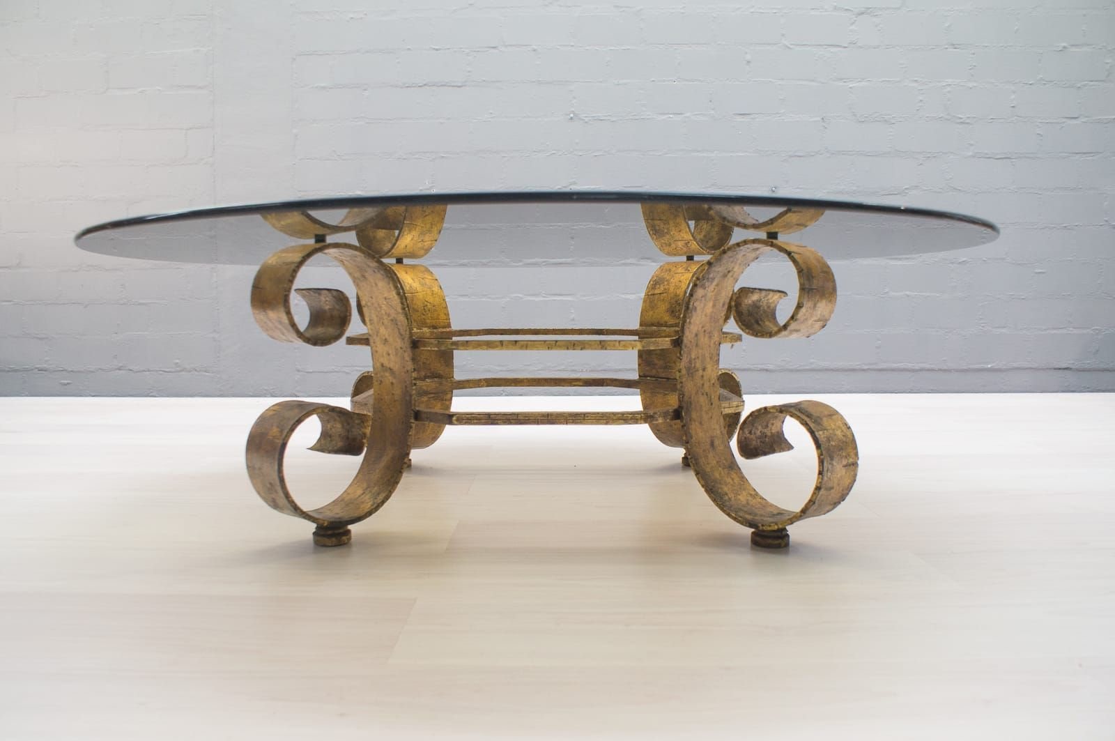 Large Spanish Gilded Coffee Table With Smoked Glass Top, 1960s