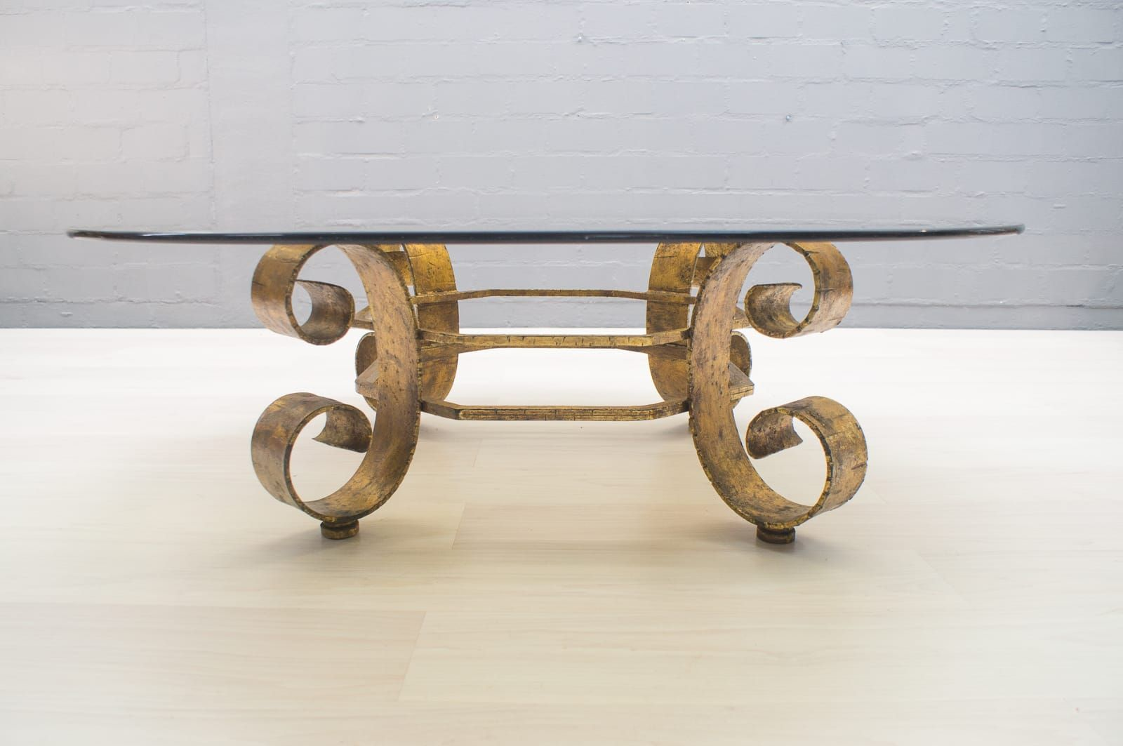 Good Large Spanish Gilded Coffee Table With Smoked Glass Top, 1960s