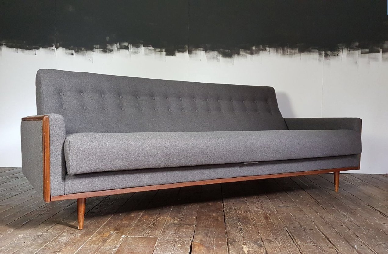 Amerikanisches Mid Century Teak Sofa In Grauer Wolle Von G Plan E Gomme Bei Pamono Kaufen