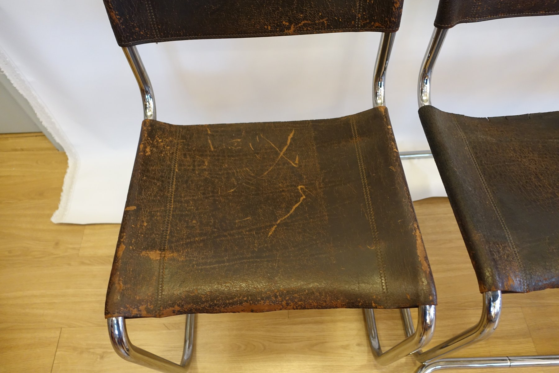 S33 Brown Buffalo Leather And Chromed Steel Dining Chairs By Mart Stam For  Thonet, 1926, Set Of 4