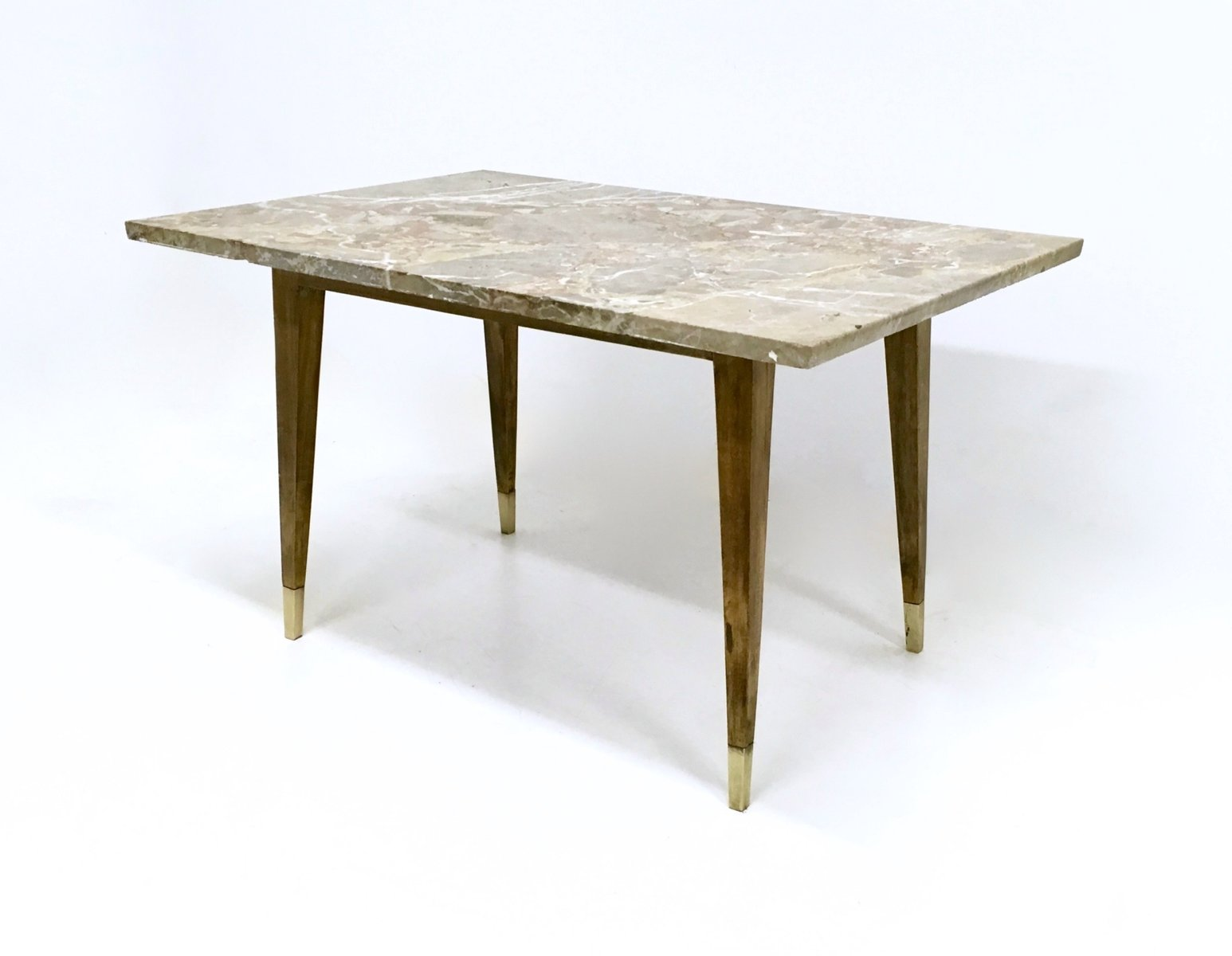 Italian beech coffee table with marble top 1950s for sale for Beech coffee table