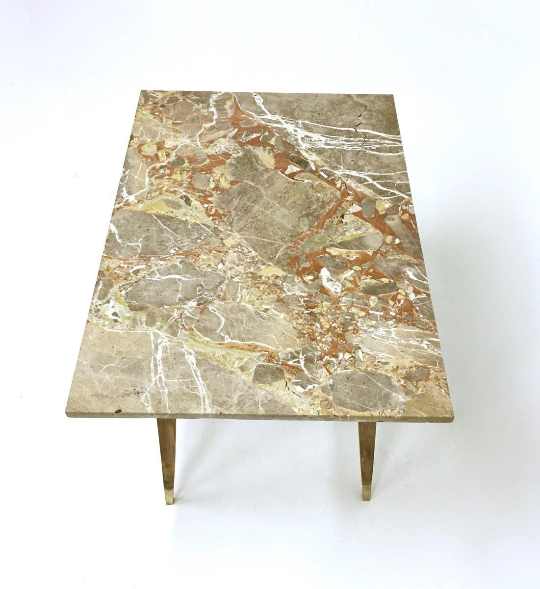 Table basse en h tre avec plateau en marbre italie 1950s en vente sur pamono - Table basse plateau marbre ...