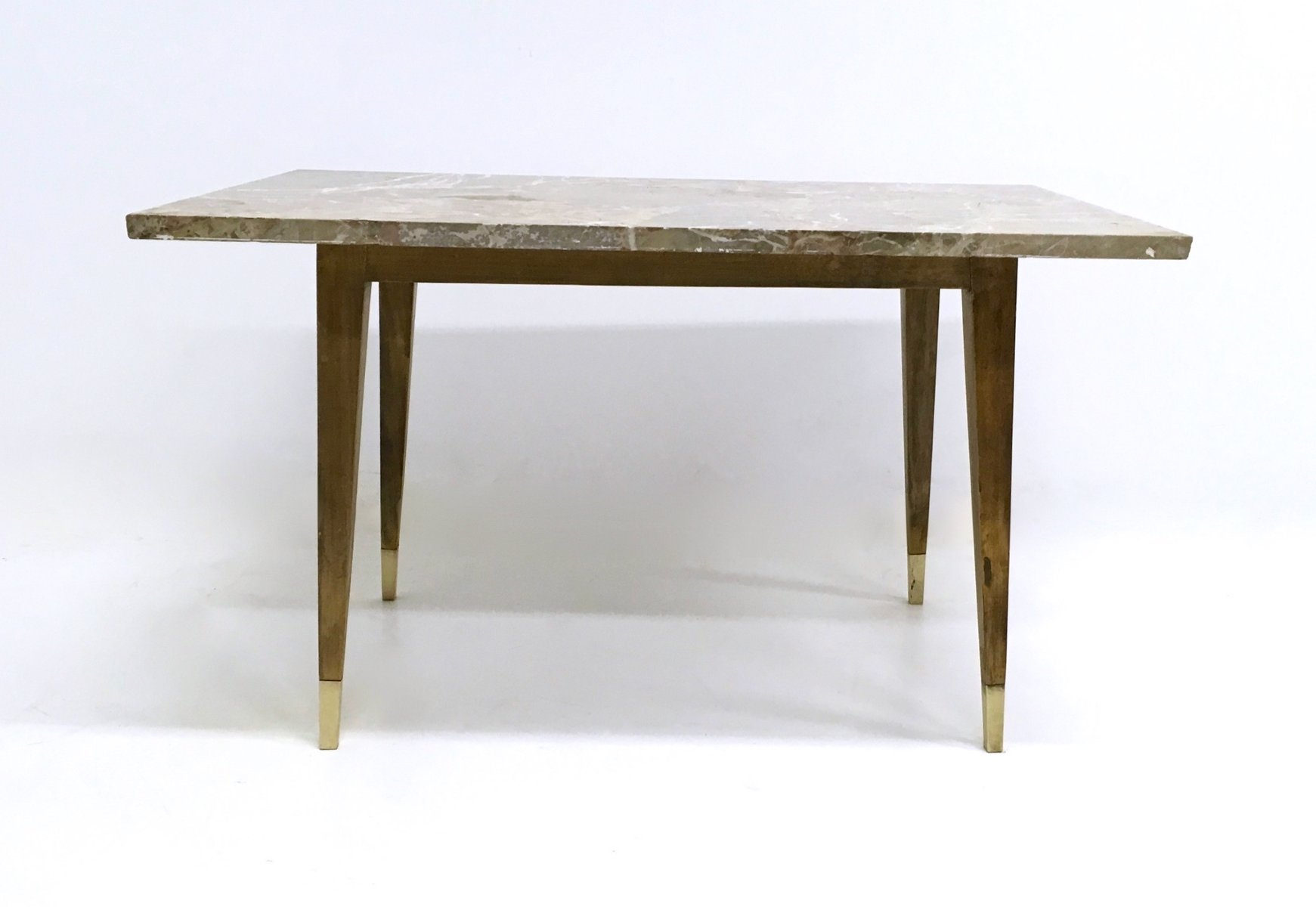 Italian Beech Coffee Table with Marble Top 1950s for sale at Pamono