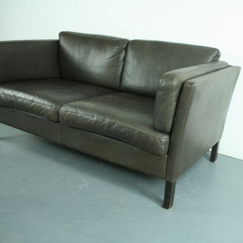 vintage 2 seater dark brown leather sofa for sale at pamono. Black Bedroom Furniture Sets. Home Design Ideas