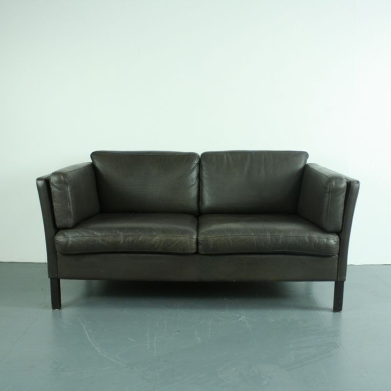 Vintage 2 seater dark brown leather sofa for sale at pamono for Leather sofa 7 seater