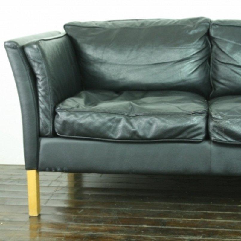 Vintage 2 Seater Black Leather Sofa