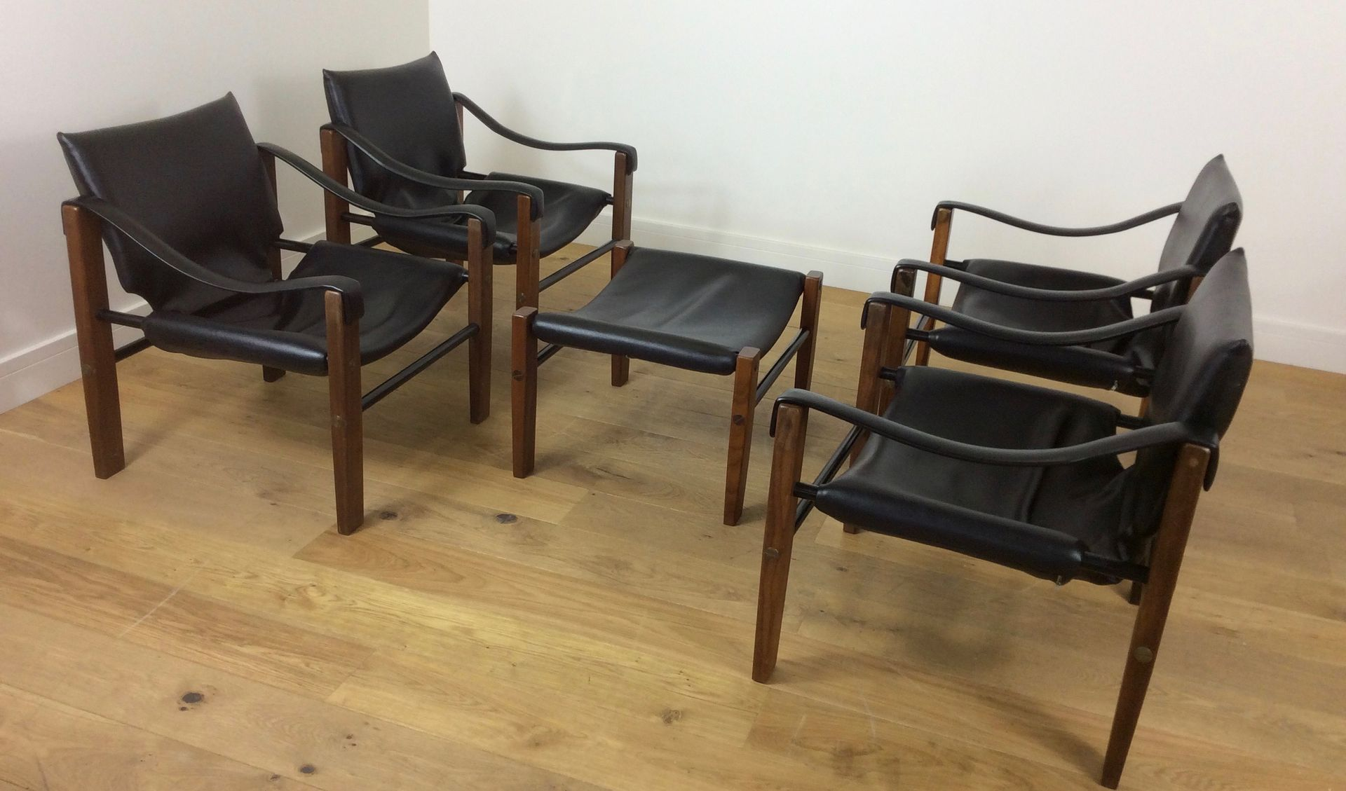 Safari Chairs and Stool from Arkana 1960s for sale at Pamono