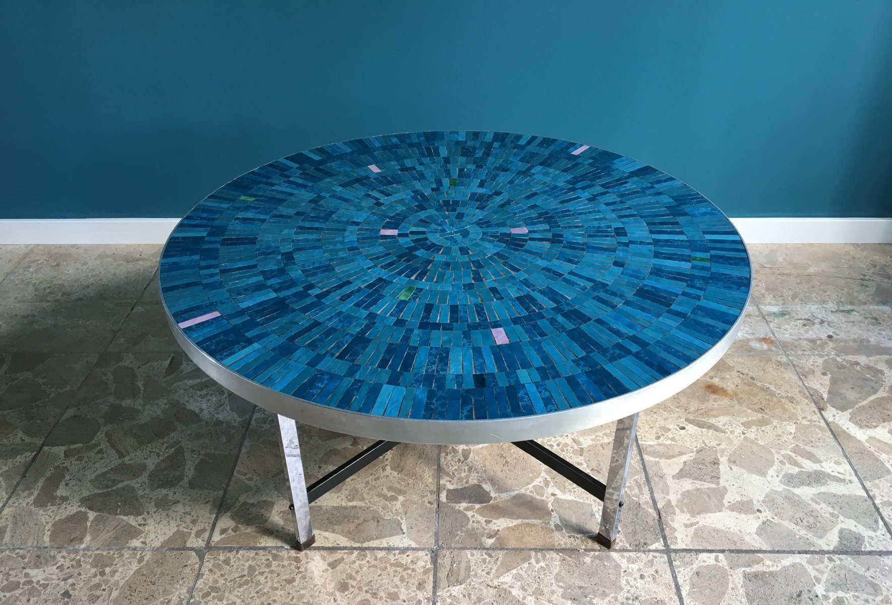 Blue German Mosaic Coffee Table by Berthold Müller Oerlinghausen
