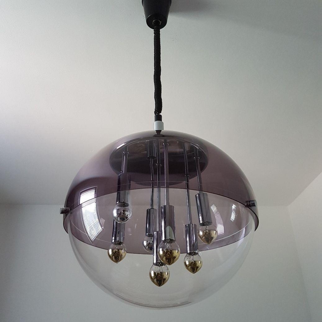 vintage space age glaskugel h ngelampe von doria leuchten 1960er bei pamono kaufen. Black Bedroom Furniture Sets. Home Design Ideas