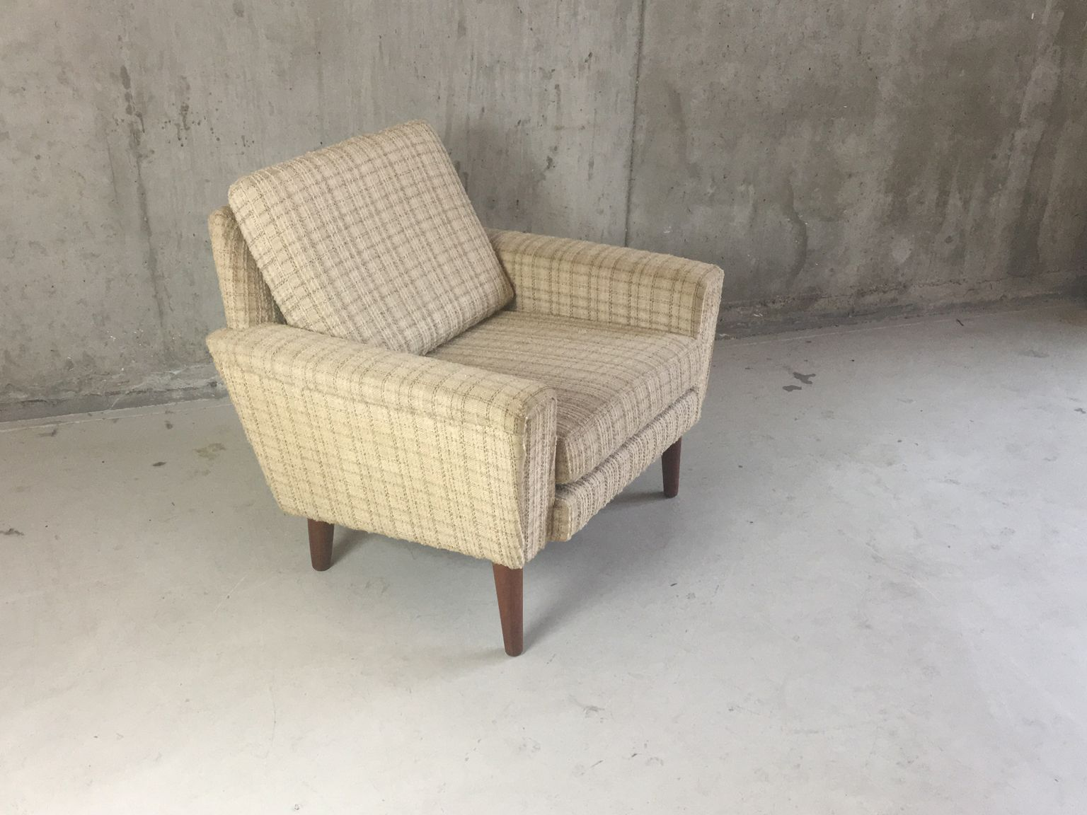 Armchair Upholstery Danish Mid Century Armchair With Checkered Upholstery For Sale At