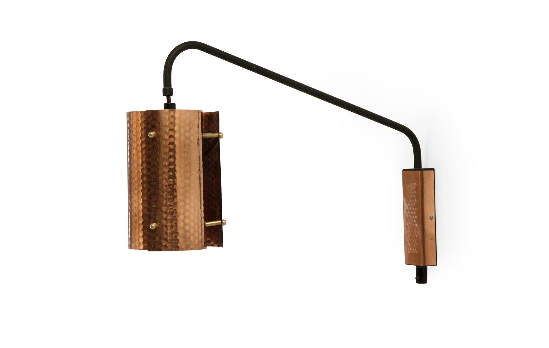 mid century kupfer wandleuchte 1960er bei pamono kaufen. Black Bedroom Furniture Sets. Home Design Ideas