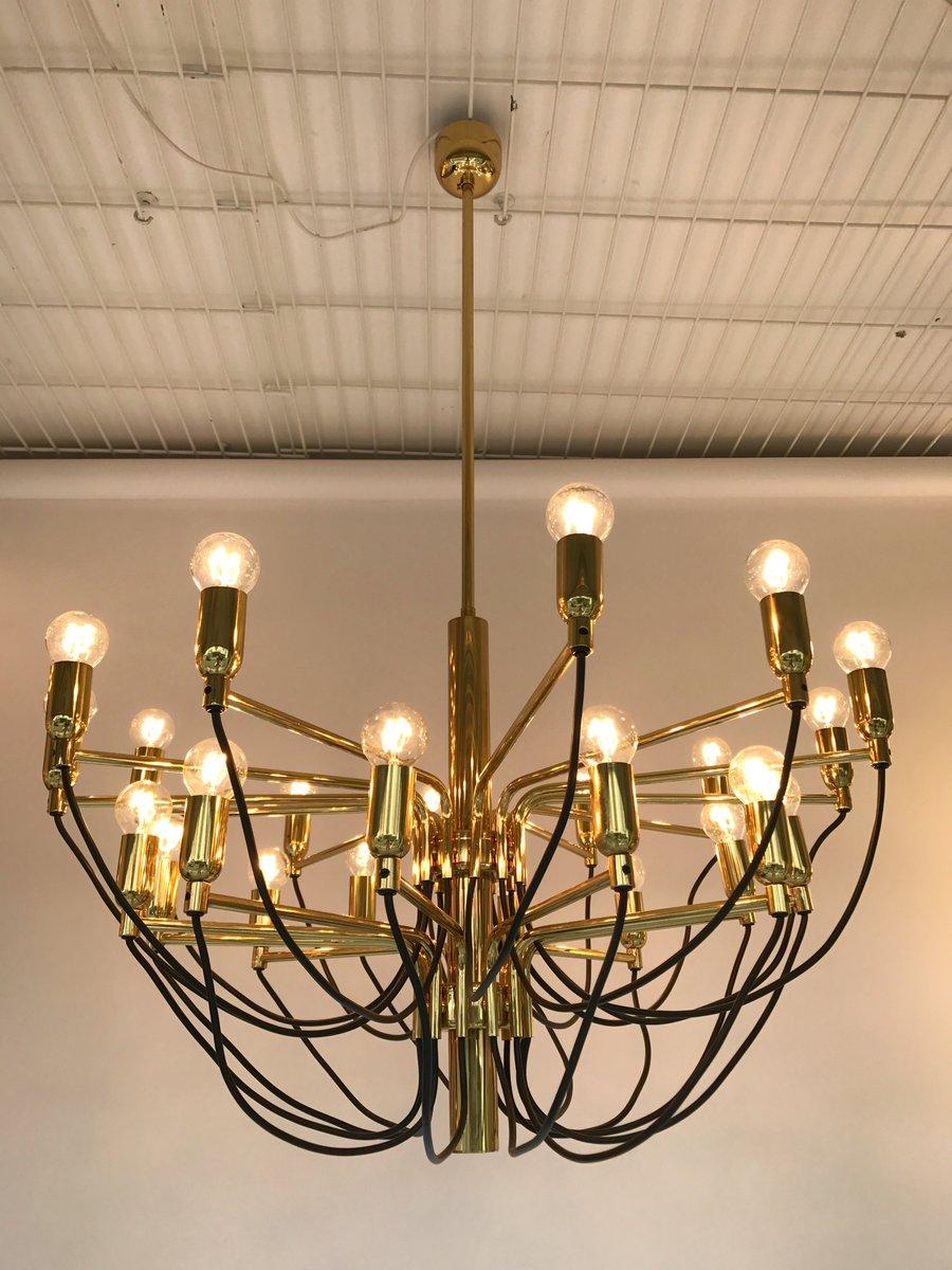 german brass chandelier from staff 1980s - Brass Chandelier
