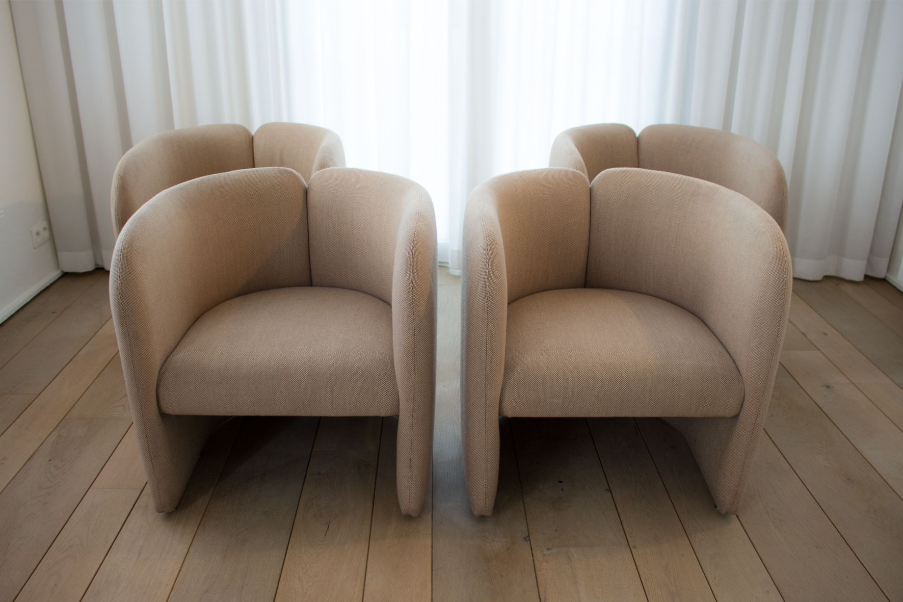 Champagne Colored Belgian Club Chairs from Bulo 1980s Set of 4