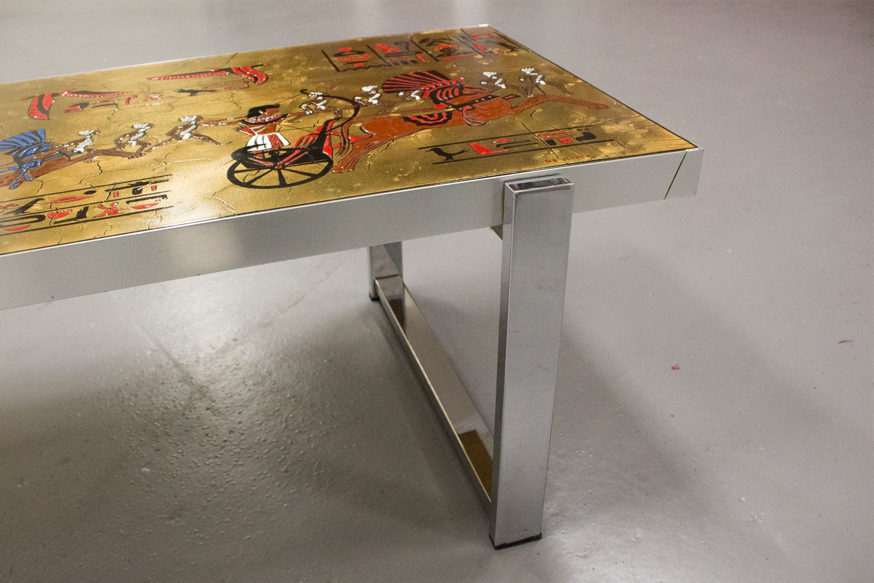 Mid Century Egyptian Themed Coffee Table By De Nisco For Sale At Pamono