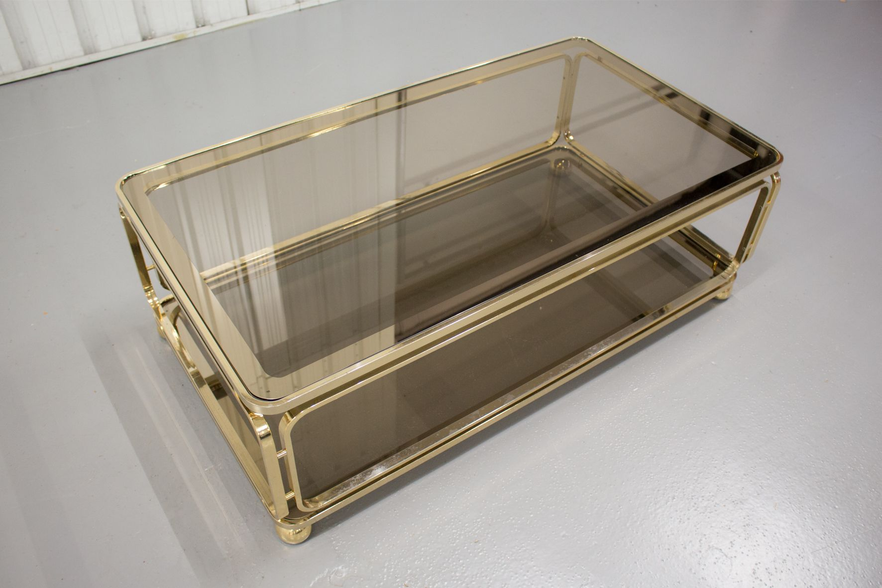 Vintage Brass Coffee Table with Glass & Mirror Inlay for sale at