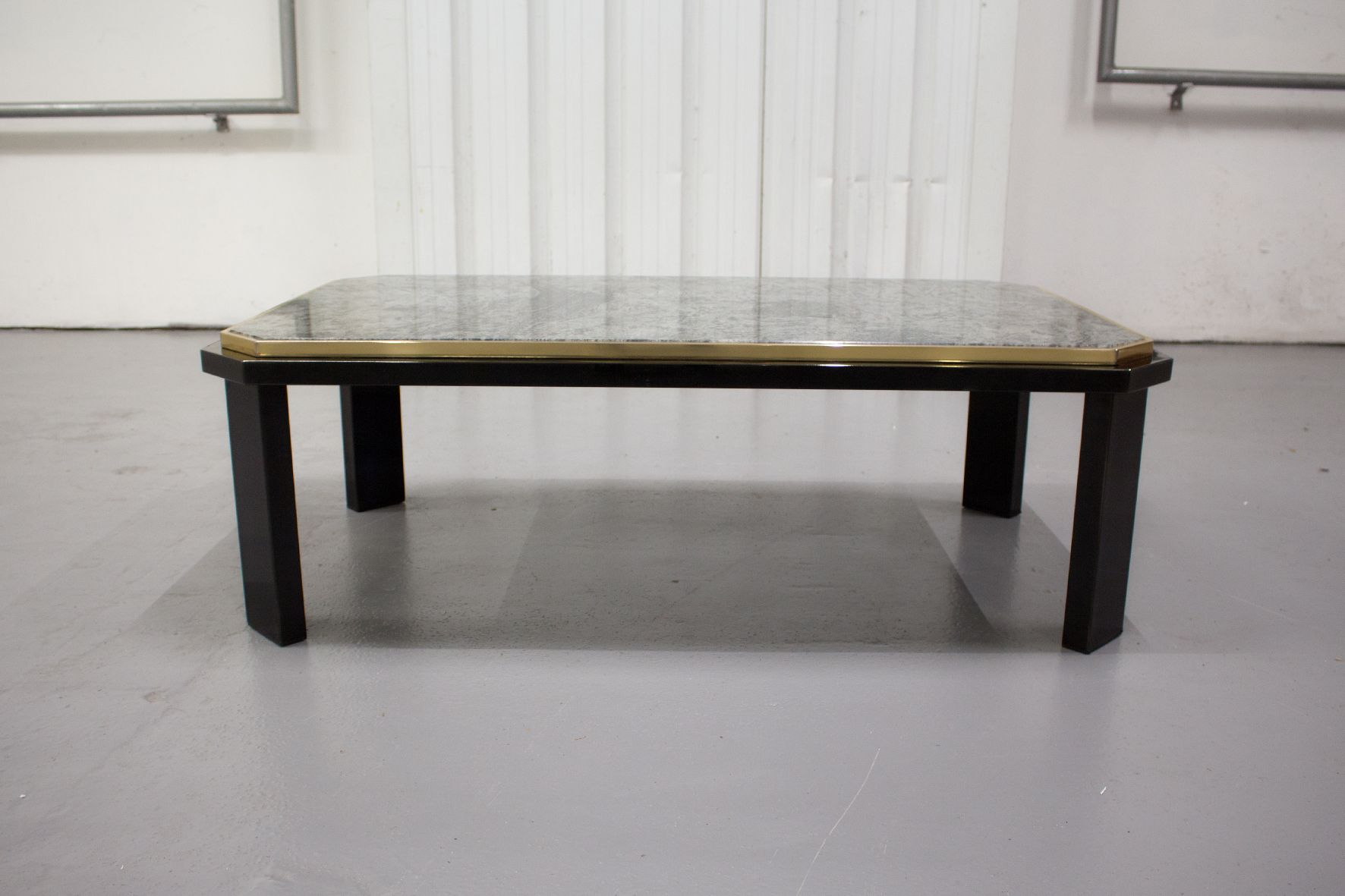 Vintage Black Lacquer & Brass Coffee Table with Green Marble Top