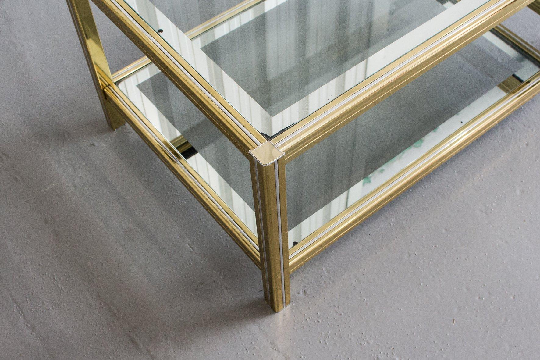 Goldener couchtisch mit zwei glas ebenen 1970er bei for Couchtisch 3 ebenen