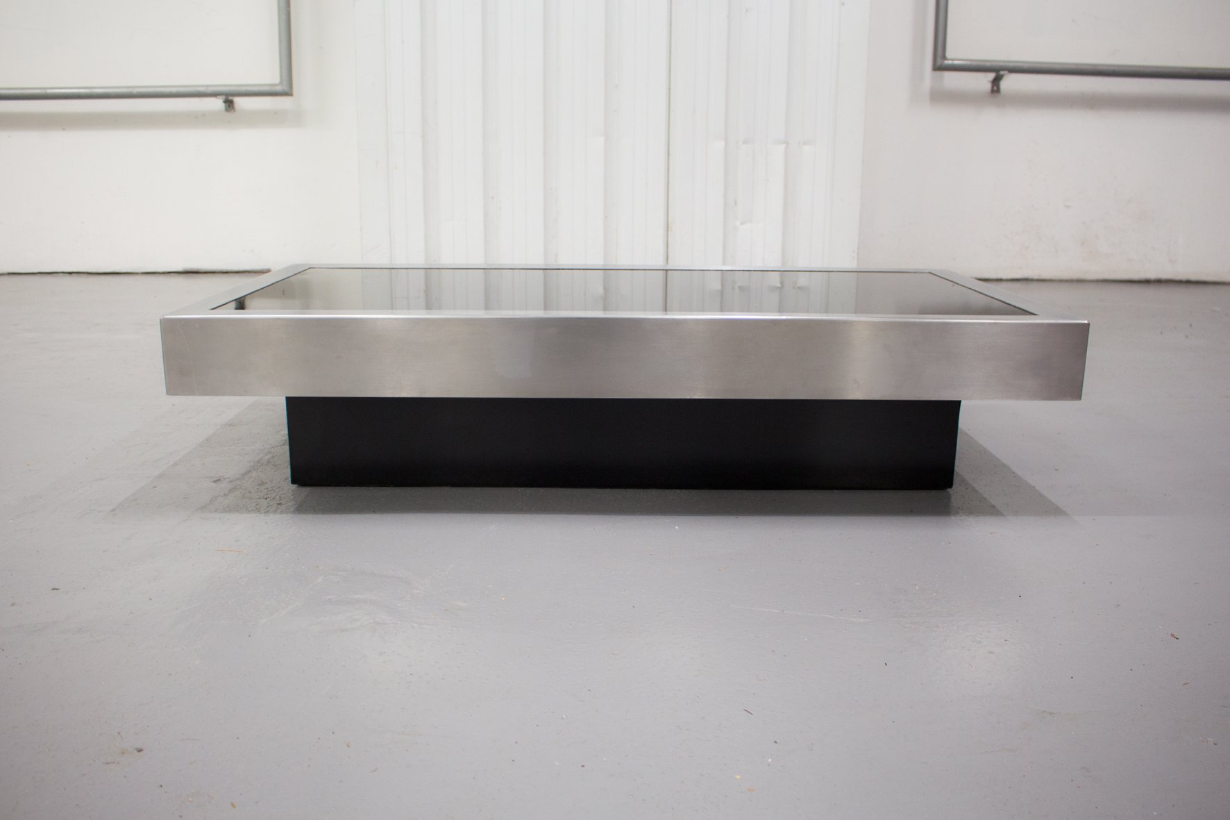 Black Glass & Chrome Coffee Table by Willy Rizzo 1970s for sale