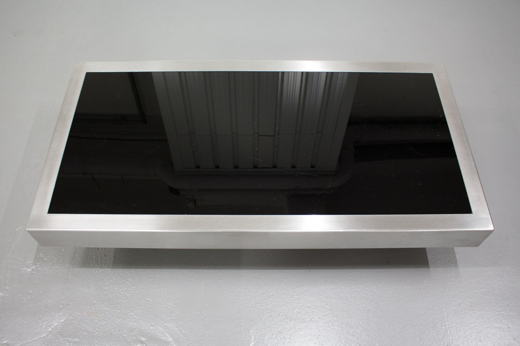Black glass chrome coffee table by willy rizzo 1970s for Black and white glass coffee table