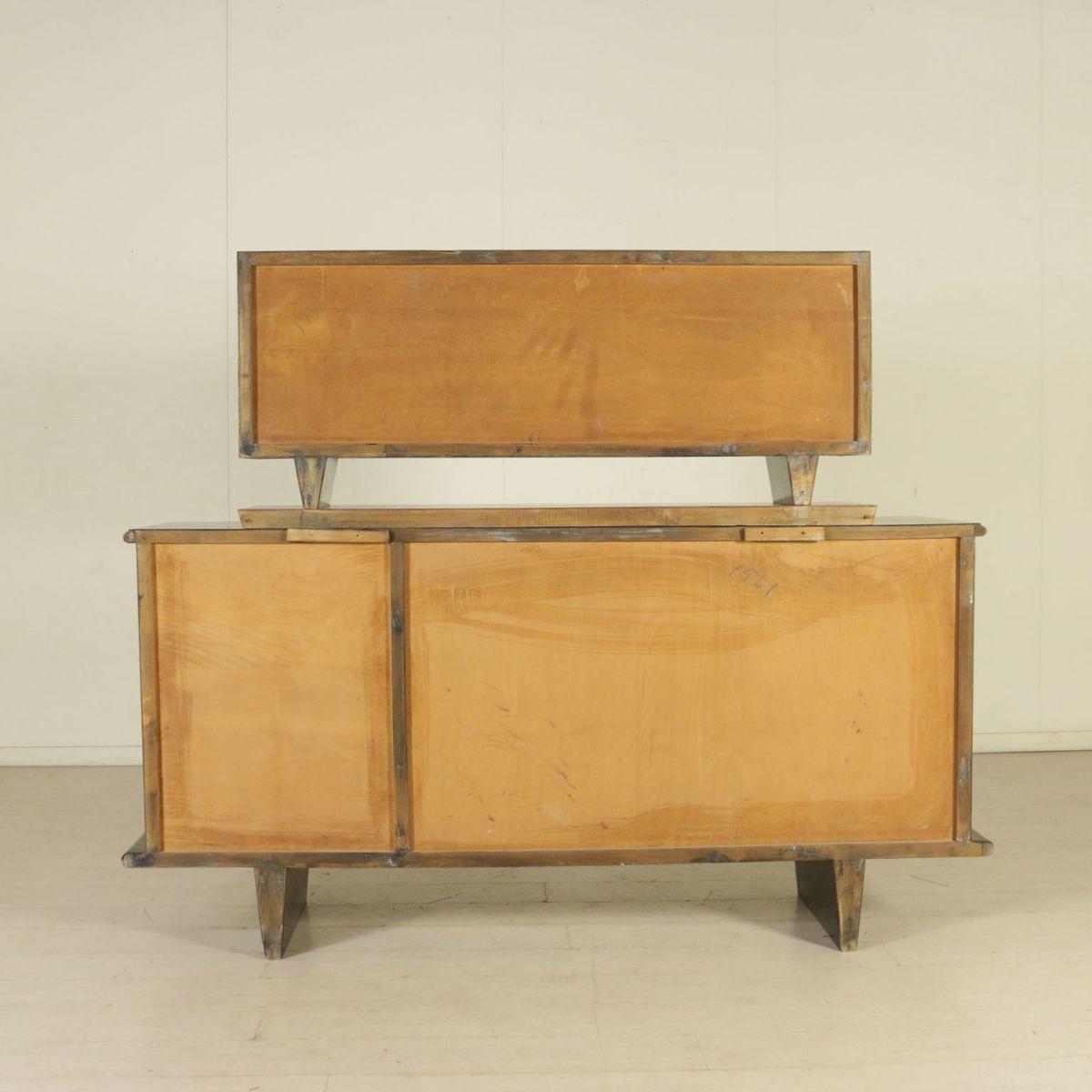 italienisches vintage sideboard aus glas esche furnier 1940er bei pamono kaufen. Black Bedroom Furniture Sets. Home Design Ideas