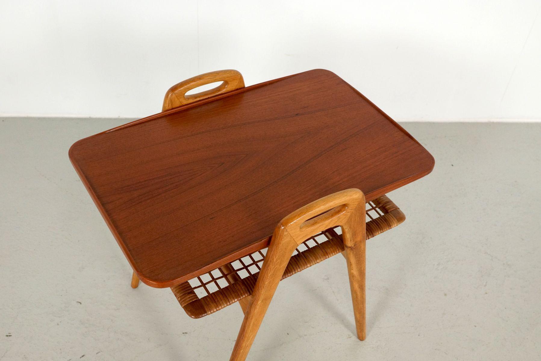skandinavischer beistelltisch aus teak rattan 1960er. Black Bedroom Furniture Sets. Home Design Ideas