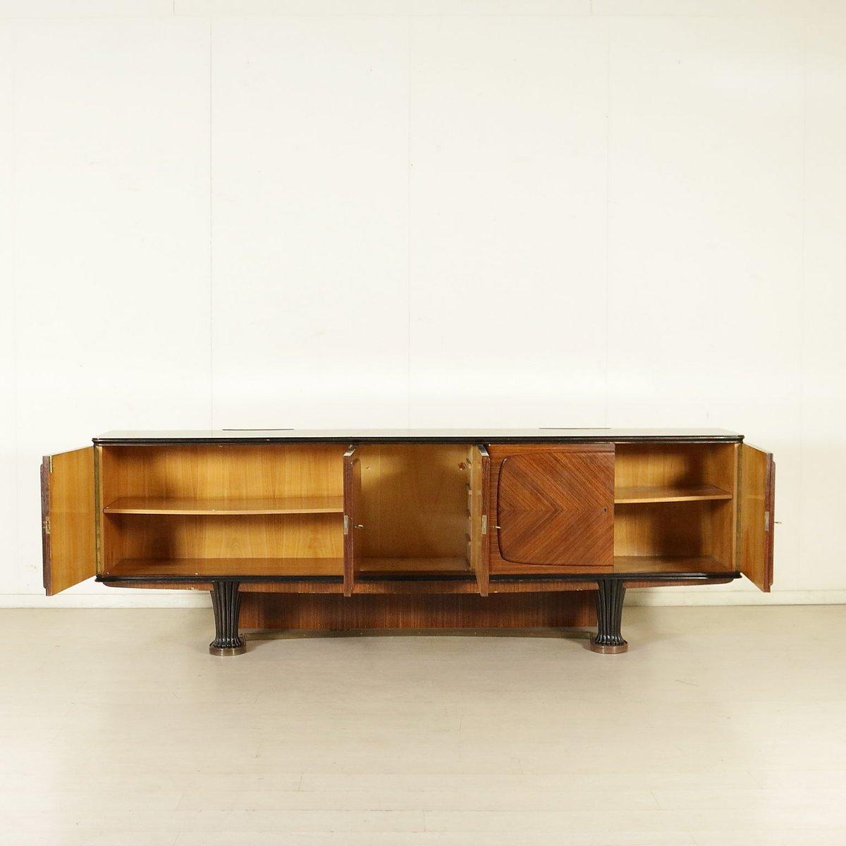 italienisches vintage sideboard aus palisander furnier geschnitztem holz opalglas 1950er bei. Black Bedroom Furniture Sets. Home Design Ideas