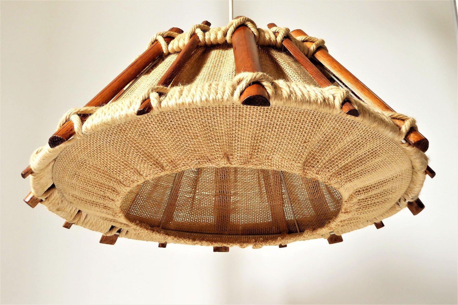 skandinavisch h ngelampe aus holz seil 1960er bei. Black Bedroom Furniture Sets. Home Design Ideas