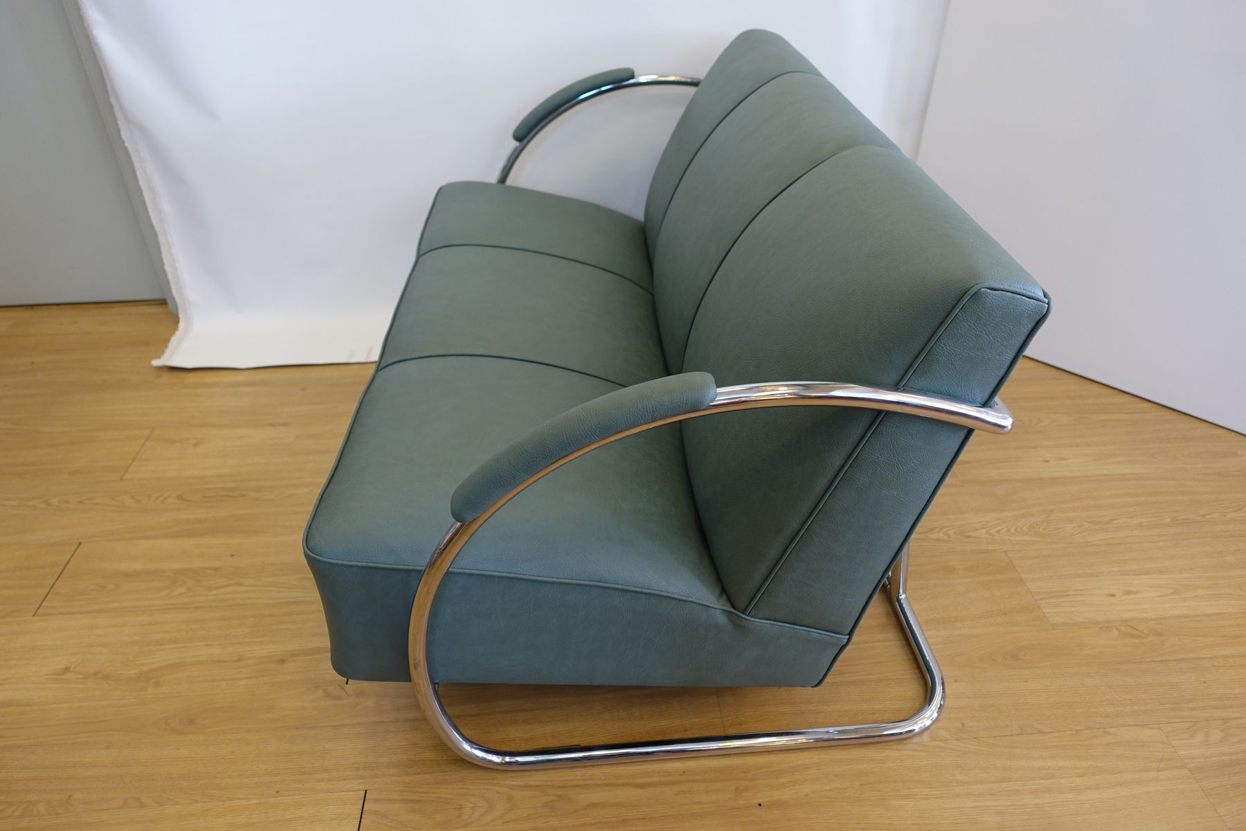 Chromed Steel and Synthetic Leather Sofa by Warren McArthur 1930s