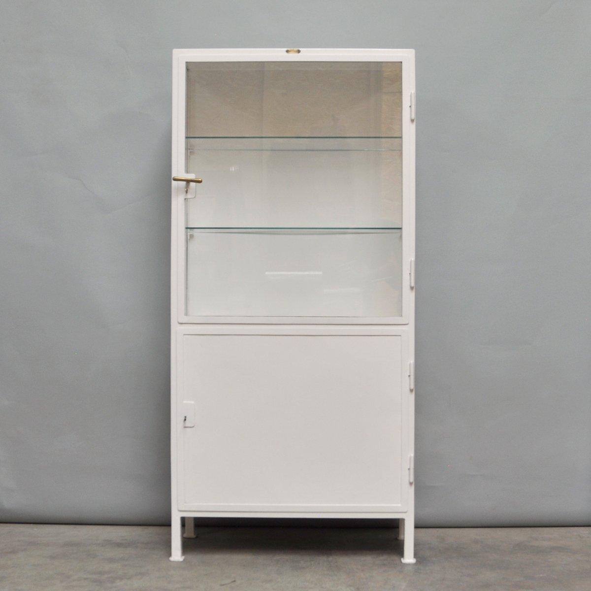 Elegant Vintage Medical Cabinet In Iron U0026 Glass From Dr. Block és Társa, 1920s