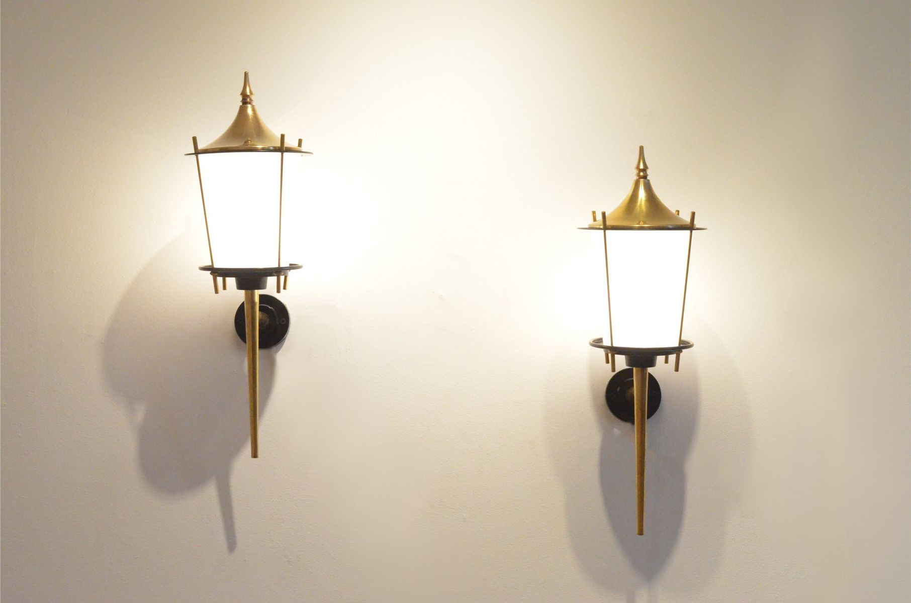 Large Black Wall Sconces : Large Mid-Century French Black Lacquer & Brass Wall Sconces from Maison Arlus, Set of 2 for sale ...