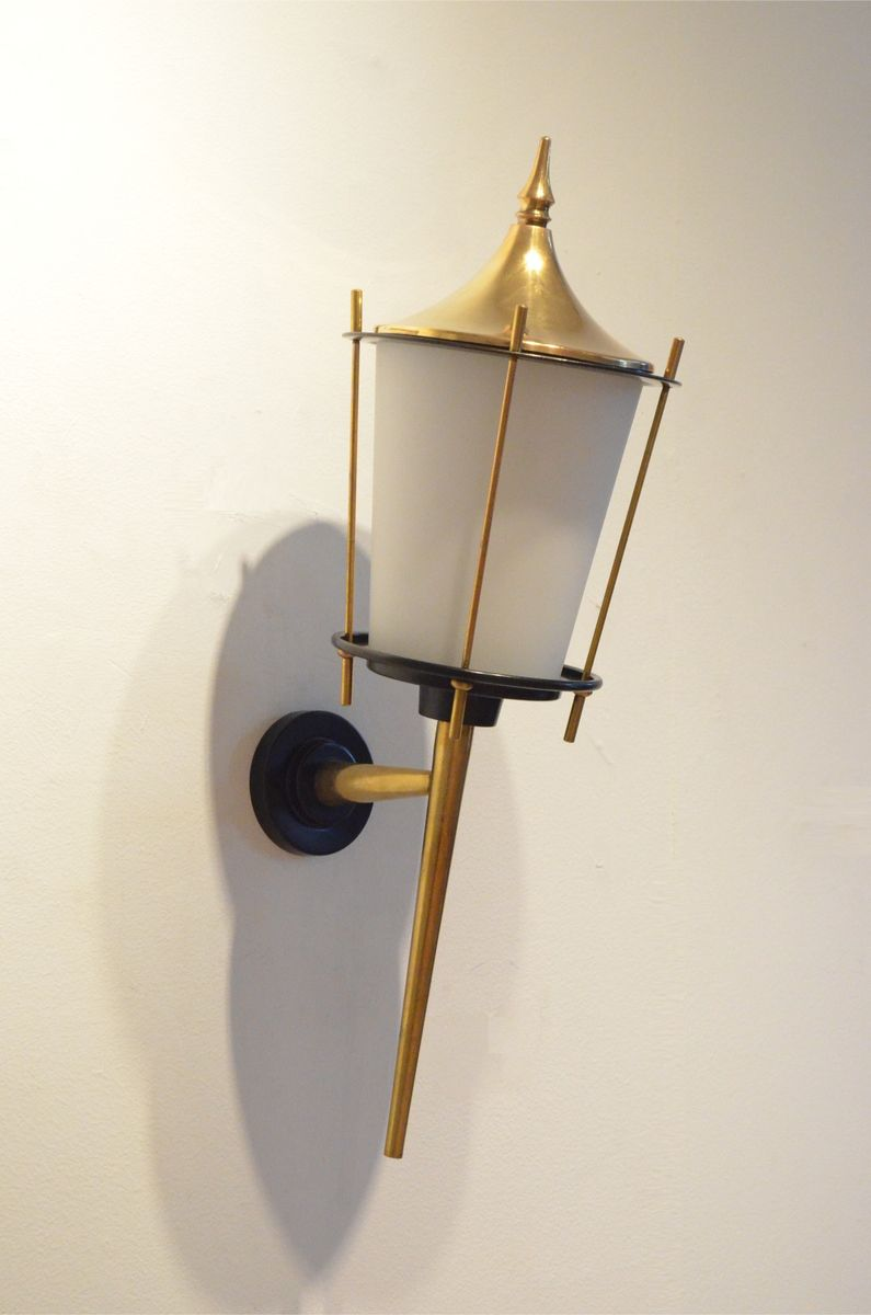 Black Lacquer Wall Sconces : Large Mid-Century French Black Lacquer & Brass Wall Sconces from Maison Arlus, Set of 2 for sale ...
