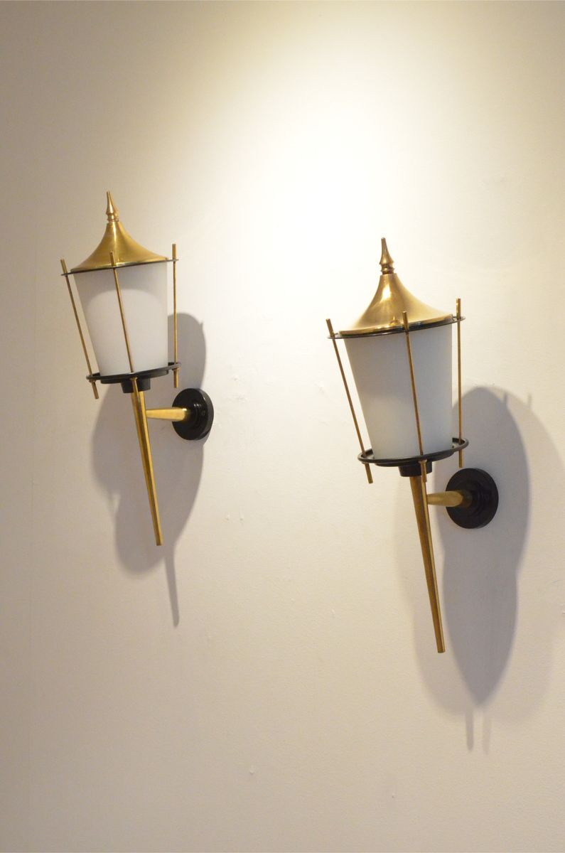 French Brass Wall Sconces : Large Mid-Century French Black Lacquer & Brass Wall Sconces from Maison Arlus, Set of 2 for sale ...