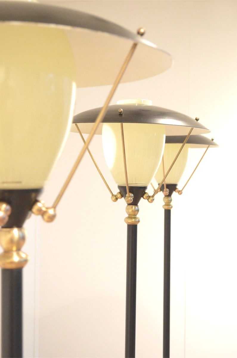 Mid century belgian brass glass tripod floor lamp for for Brass tripod floor lamp uk