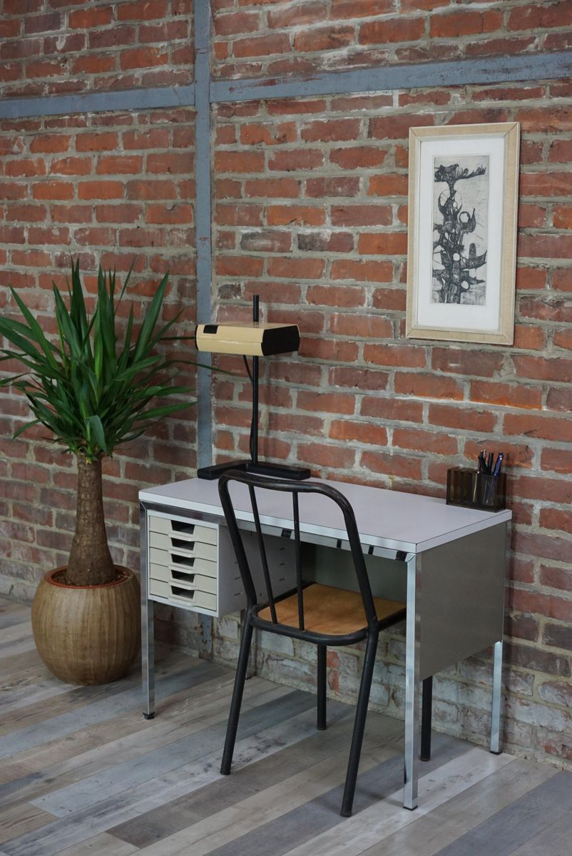 Vintage Metal Desk By BBPR For Olivetti Synthesis For Sale