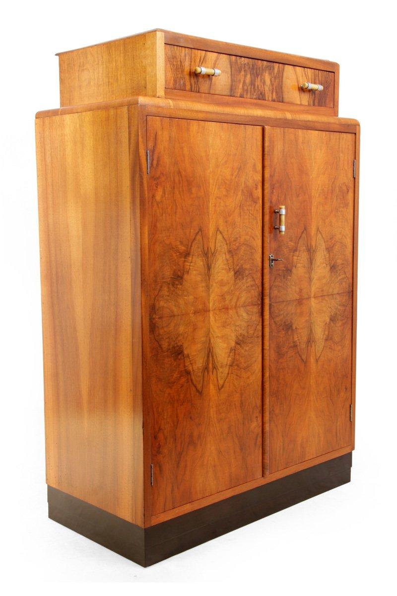 Art Deco Walnut Gentleman's Wardrobe, 1930s For Sale At Pamono