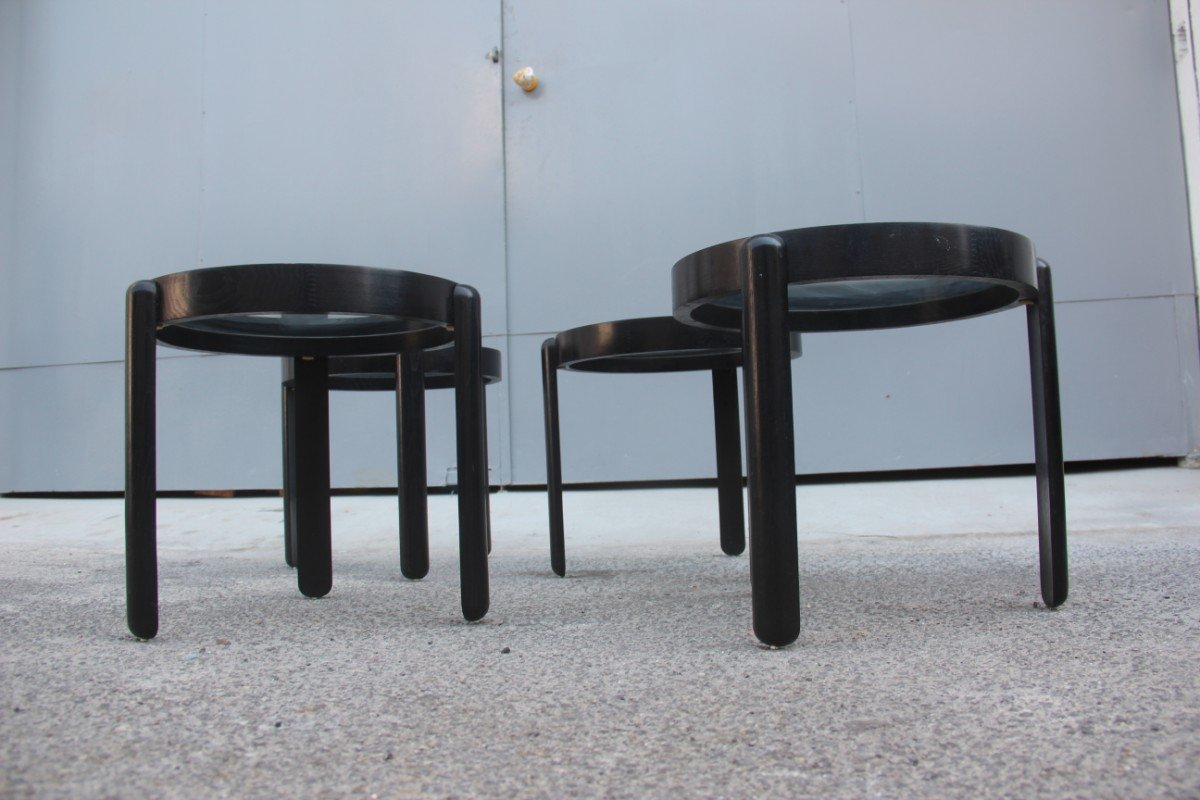 black chestnut stacking tables s set of  for sale at pamono - price per set