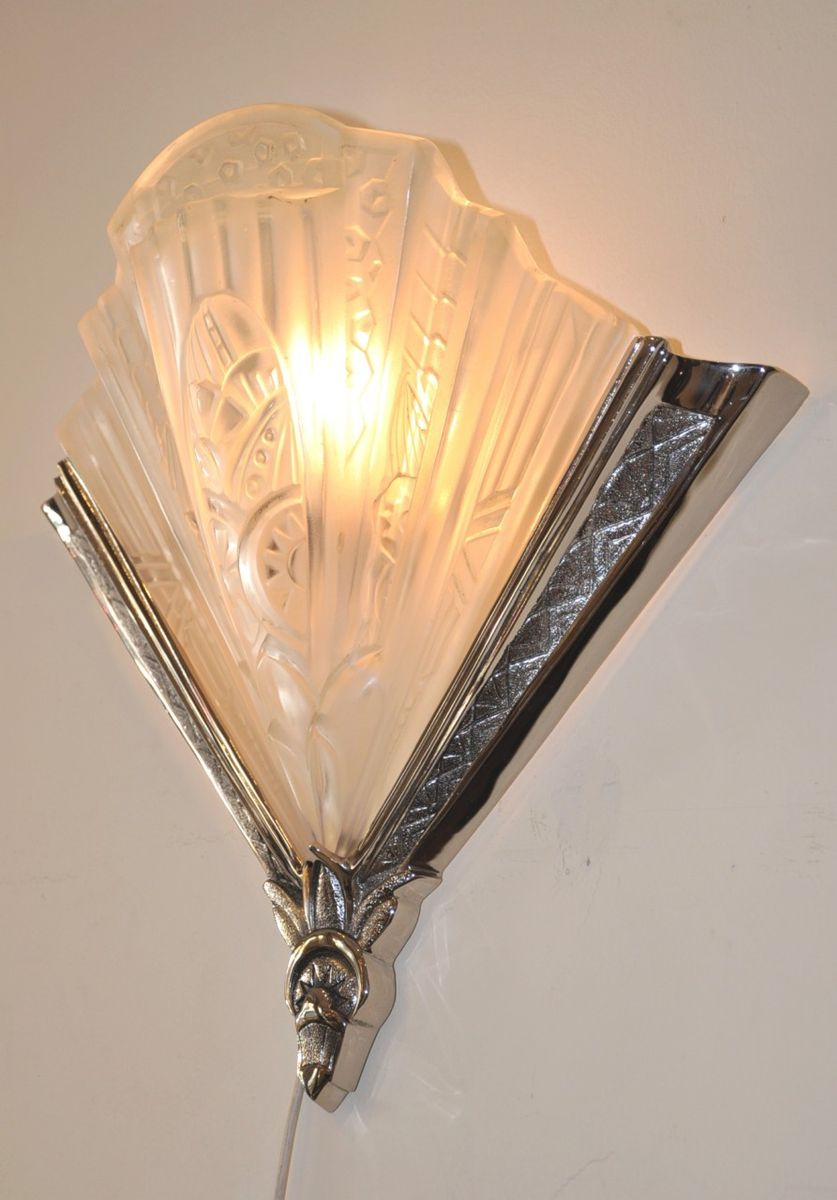 Wall Lamps Drawing : Art Deco Wall Lamps by Frontisi, 1930s, Set of 2 for sale at Pamono