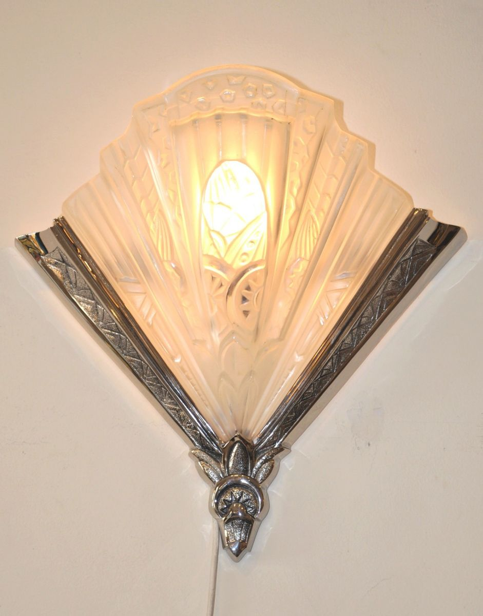 Wall Lamps For Paintings : Art Deco Wall Lamps by Frontisi, 1930s, Set of 2 for sale at Pamono