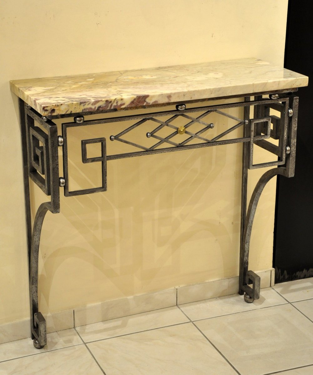 art deco wrought iron console 1930s for sale at pamono. Black Bedroom Furniture Sets. Home Design Ideas
