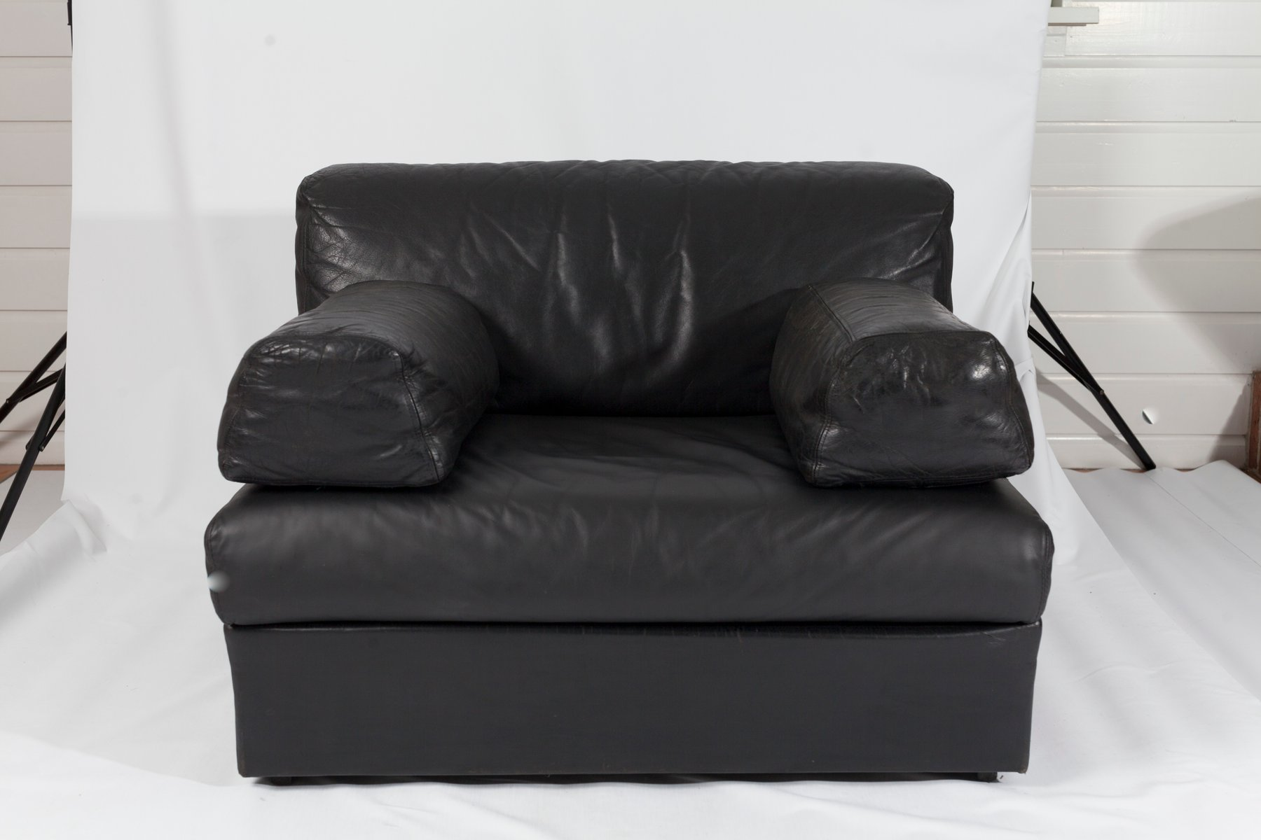 Black Leather Sectional Sofa 1980s for sale at Pamono